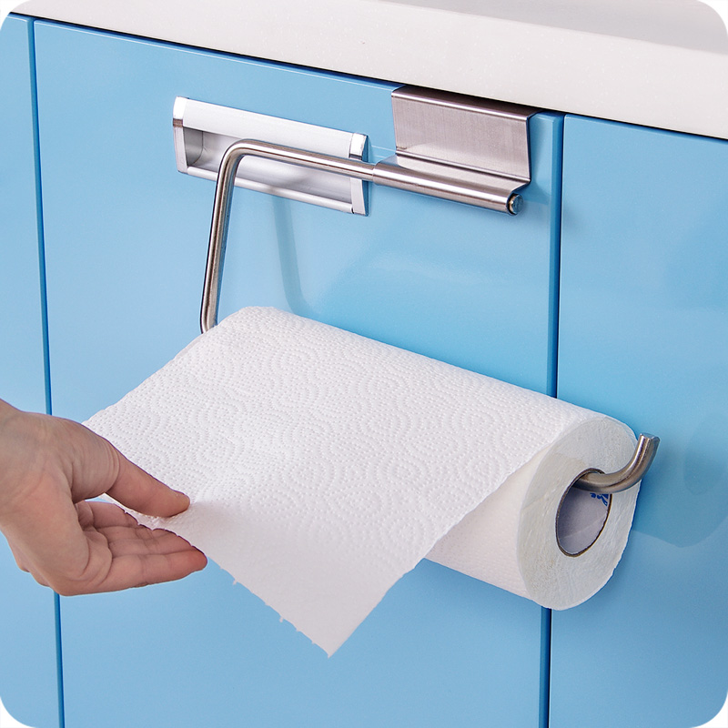 Stainless steel toilet roll paper towel holder with shelf - Bathroom accessories paper towel holder ...