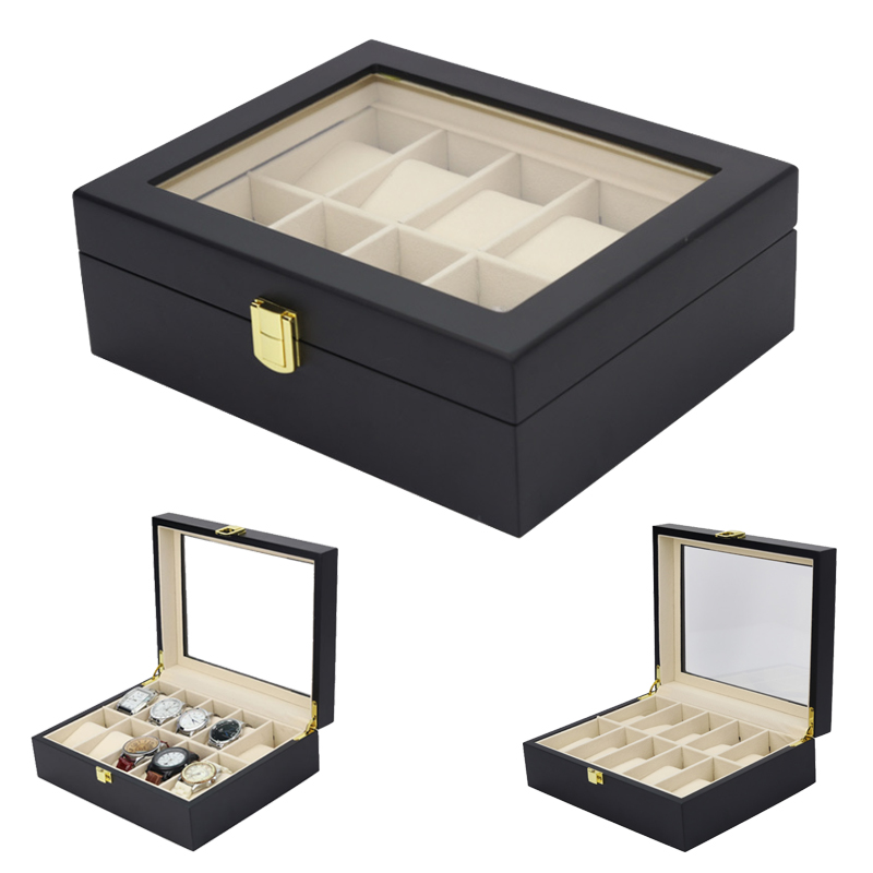 2019 New 10 Grids Wooden Watch Case Watch Boxes Casing for Hours Sheath for Hours Box for hours Watch 61 hours