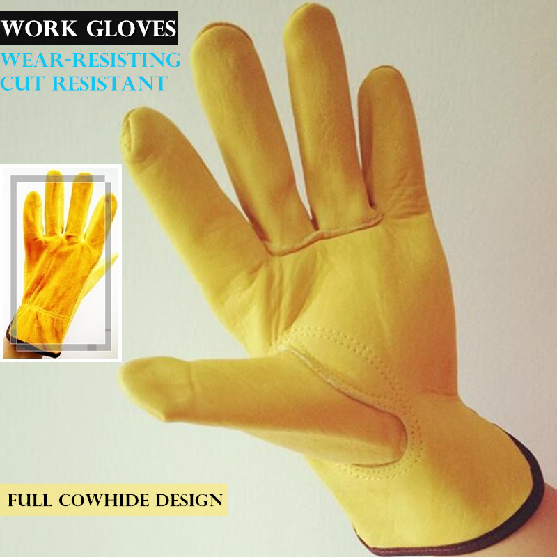 200p Two-Layer Cowhide Work Gloves Cut Resistant Driver/welding Multifunction Wear-resisting Adiabatic Men&Women Leather Gloves