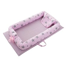 Portable Foldable Baby Crib Newborn Sleep Cotton Bed baby in Car safety Nest soft Cradle Baby Nest Bed Travel  Crib Fence Bed natural straw hand knitting baby portable bed crib breathable outdoor travel cars baby cradle bed protector for kids