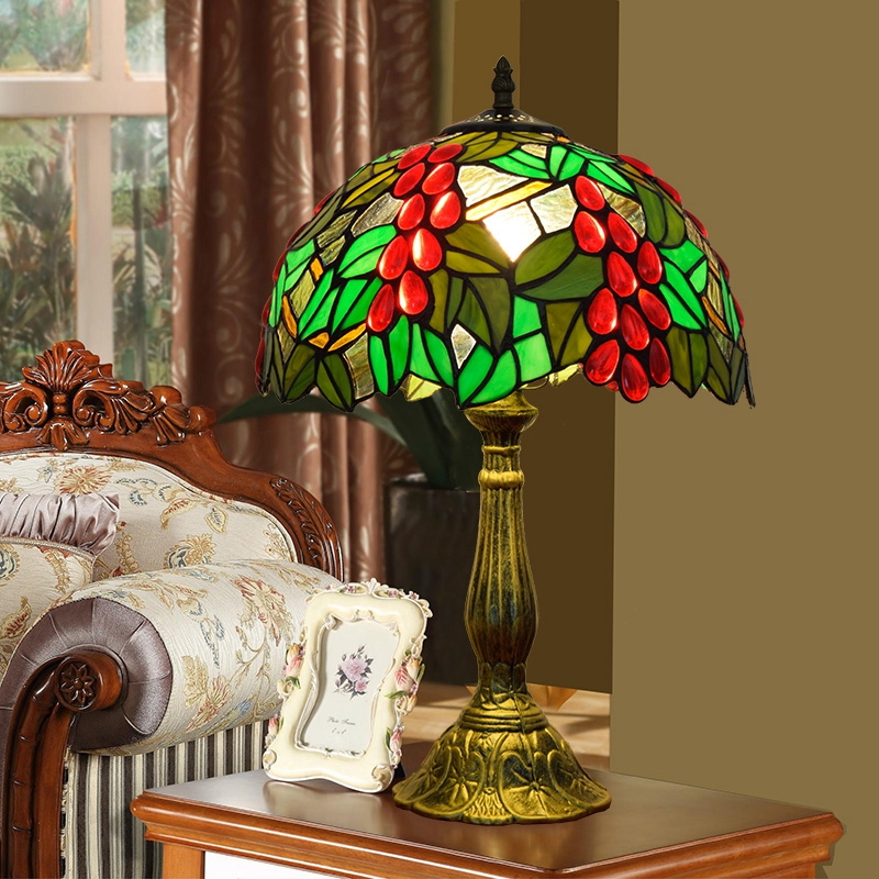 ODIFF American Village Pastoral green grape bar lighting Living room dining Bedroom bedside lamp stained glass Desk Lamp E27 LED
