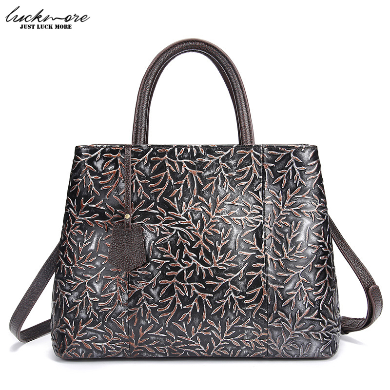 Women Bag 2017 Vintage Genuine Leather Embossing Women Messenger Bags Woman Shoulder Bag Ladies Casual Tote Handbags Top Quality