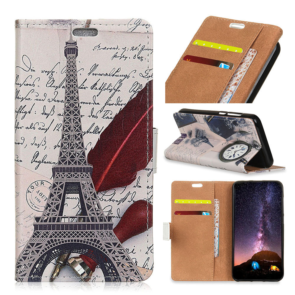 Luxury Painted Eiffel Tower Tiger Owl Wallet PU Leather Flip Card Slot Cover case for HTC Desire 12 Bag Case fundas