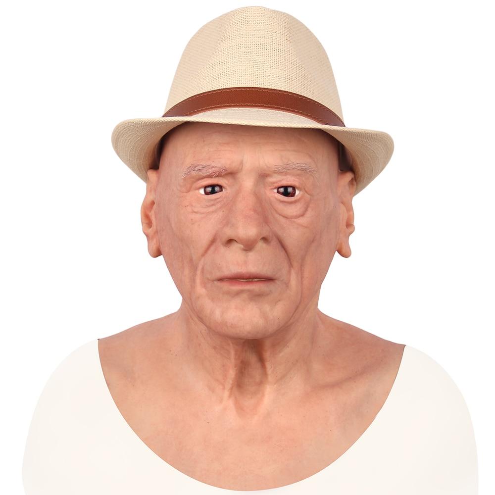 KOOMIHO European Old Man Silicone Realistic Male Head Crossdresser Mask Handmade Makeup Transgender Mask Cosplay Mask 3G  - buy with discount