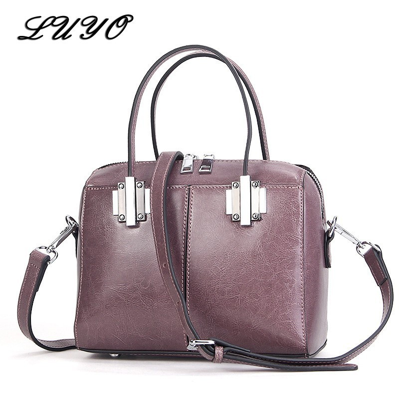 LUYO Genuine Leather Woman Fashion Oil Wax Cowhide Boston Handbag Women Messenger Girls Shoulder Bags Female Tote Bag Patent 3 bag set girls patent leather handbag and purse solid colors ladies desinger bags classic woman s handbag female shoulder bags