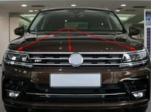 2016 2017 2018 2019 VW ティグアン mk2 欧州版フロントフードボンネットグリルリップ成形カバートリムバーガーニッシュメッシュ 3 ピース/セット