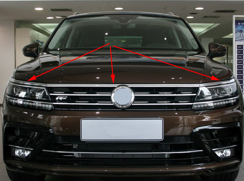 for 2016 2017 2018 2019 VW tiguan mk2 European version FRONT HOOD BONNET GRILL LIP MOLDING COVER TRIM BAR GARNISH MESH 3pcs/set image