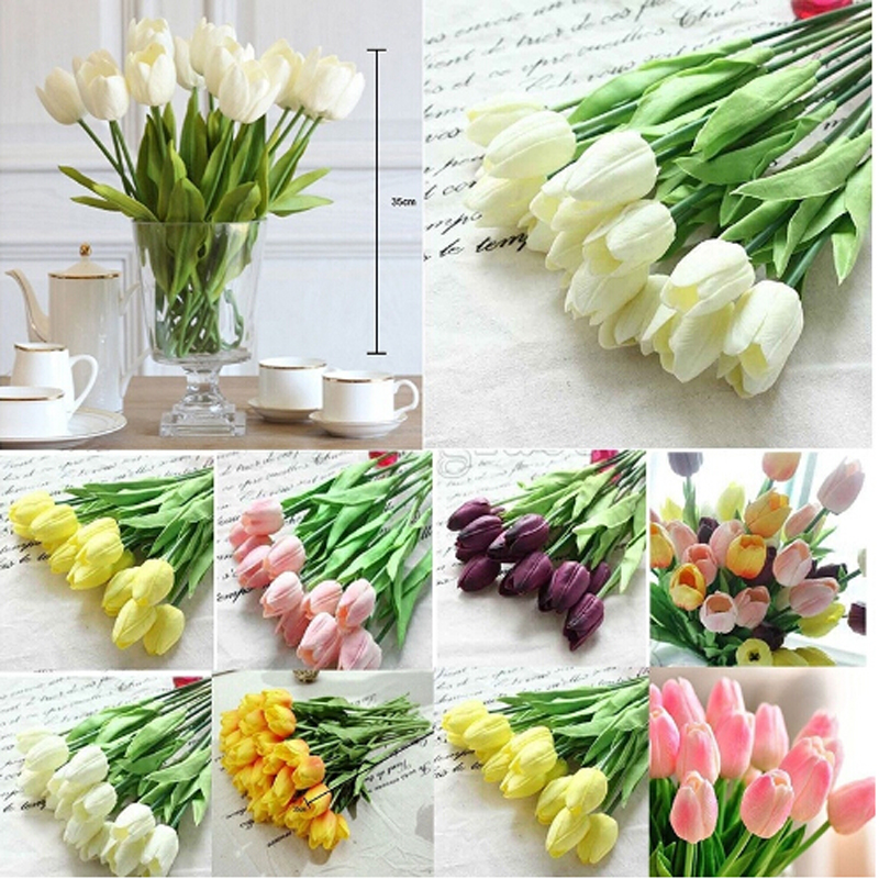 \u20dd10 Pcs Artificial Flowers \u2460 Tulips Tulips Flower European Style Silk \u3010\u3011 Bouquet Bouquet Single