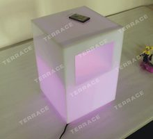 New Fashion acrylic lighting side table, Modern Lucite LED Nightstand, PMMA Sofa table with magazinerack(China)