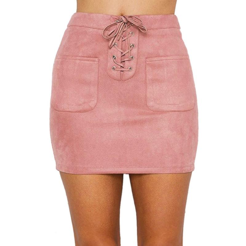 Summer Fashion Doeskin Mini Skirt Bandages High Waist Women Hip-wrapped Sexy Elastic Zipper Party Slim Fit Skirt Female Clothing