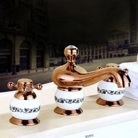 Luxury Widespread 3 Holes Bathroom Basin Sink Faucet Deck Mount Two Handles Mixer Taps Goled /Rose Gold/Antique Brass
