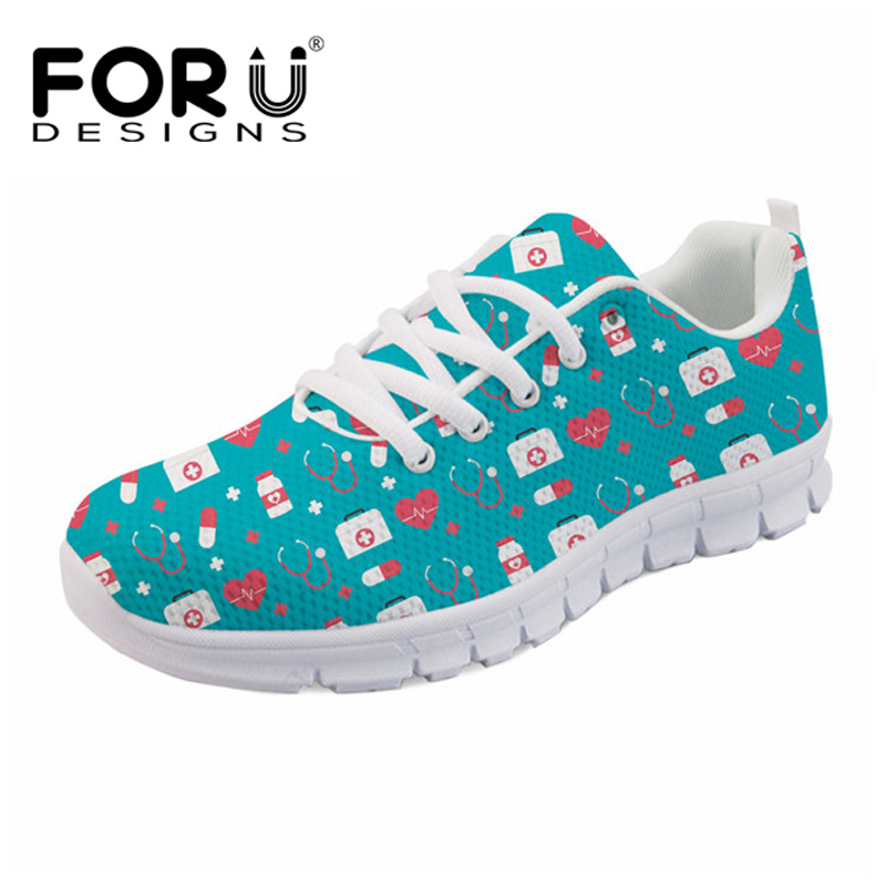 FORUDESIGNS 2018 Brand Designer Women Flats Shoes Medical Nurse Pattern Sneakers Woman Lace UP Mesh Shoes for Ladies Zapatos glowing sneakers usb charging shoes lights up colorful led kids luminous sneakers glowing sneakers black led shoes for boys