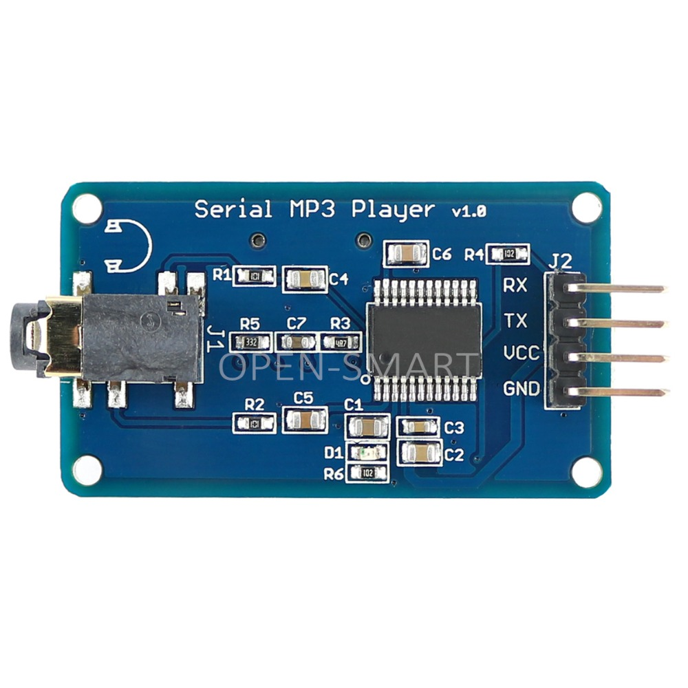 MP3 module UART Control Serial MP3 Player with Headphone Output Speaker MicroSD Card Sound Speaker Module for Arduino UNO
