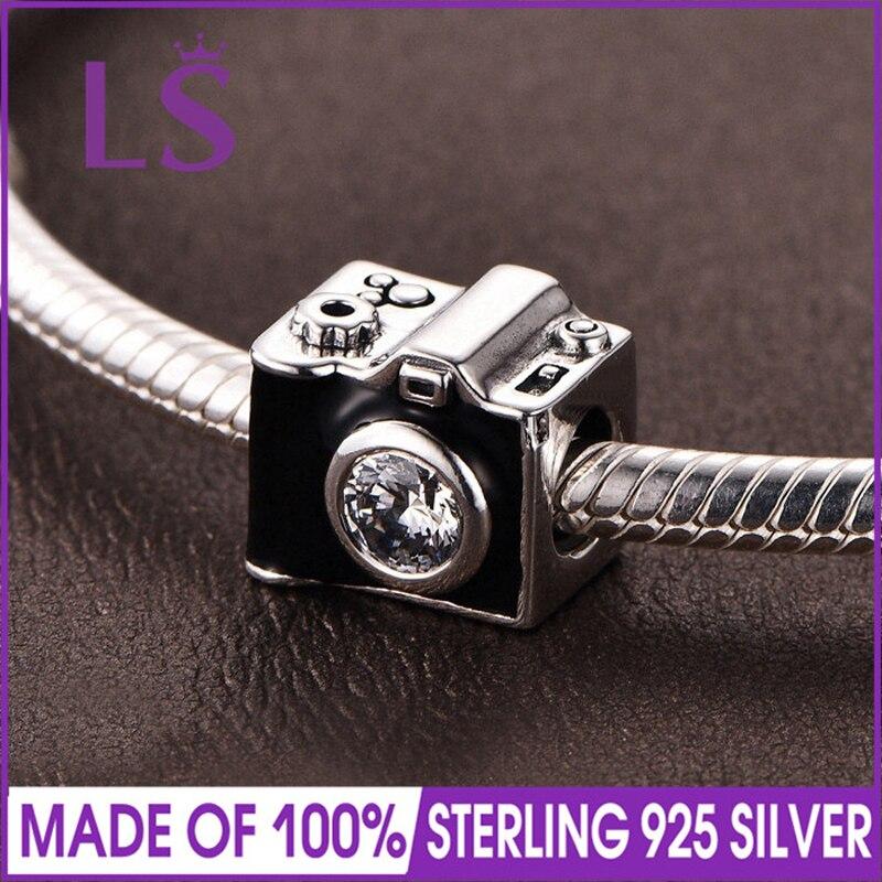 LS High Quality S925 Silver Sentimental Snapshots,Black Enamel Charm Fit Original Bracelets Pulseira Encantos. 100% Fine Jewlery