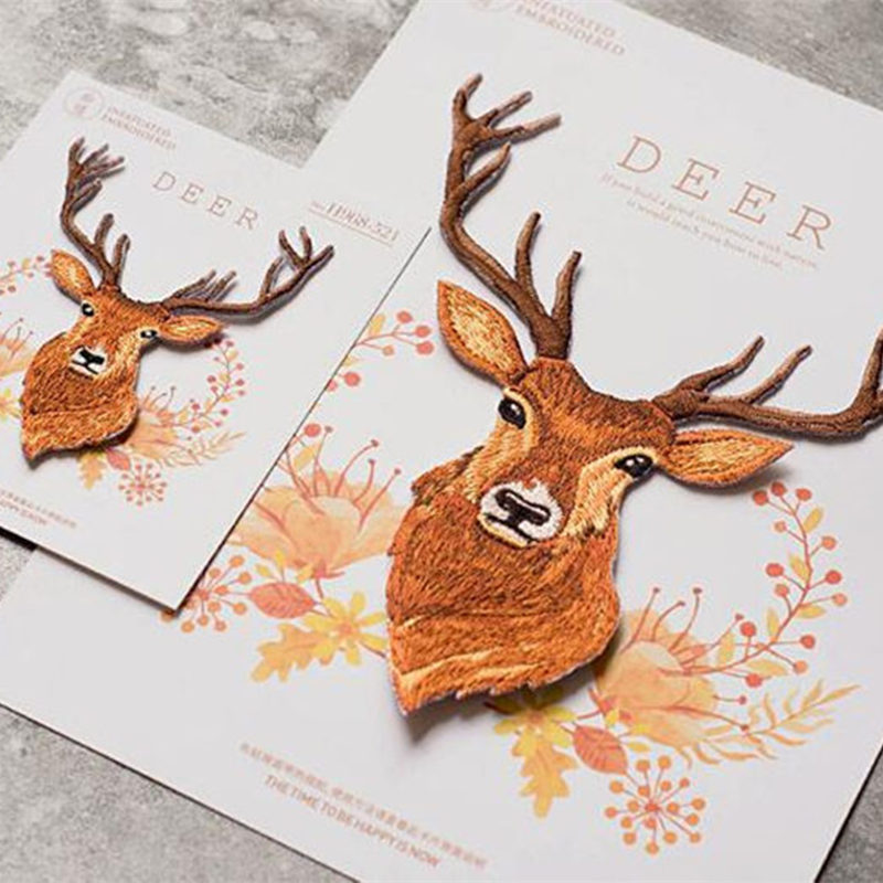 Embroidered <font><b>Deer</b></font> <font><b>Patch</b></font> for Clothing Iron on Sewing Antler Applique for Jackets Jeans Clothes Stickers Appliques for Bags Shoes image