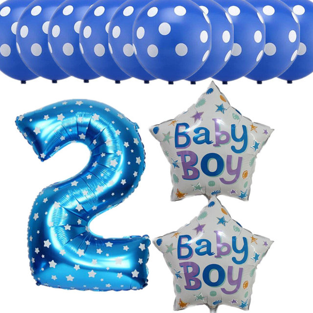 13pcs Lot Number 2 Foil Balloons For Baby 2 Years Old Happy Birthday