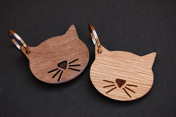 Cat Keyring Cat Lover Gift Birthday Gift Unique Gift Idea Wooden