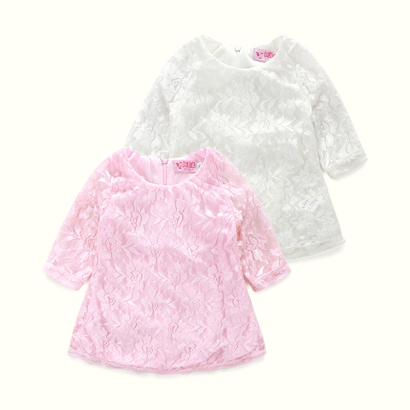 Cotton Lace Sleeve Summer Baby Girls Dress White Pink Girls A Line Short Princess Dress Clothing