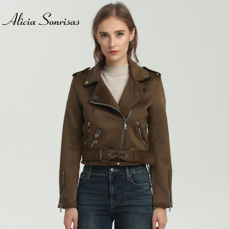 Women Faux   Suede   Jacket Women Brown   Leather   Jacket Spring Lady Motorcycle Fashion Street Women Badges Vintage Coats AS0332