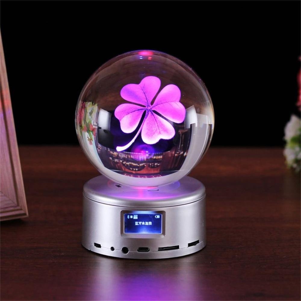 лучшая цена New 80 mm Wireless Bluetooth Crystal Ball Music Box Rotate Bluetooth MP4 Base Remote Control Music Box For Valentine's Day