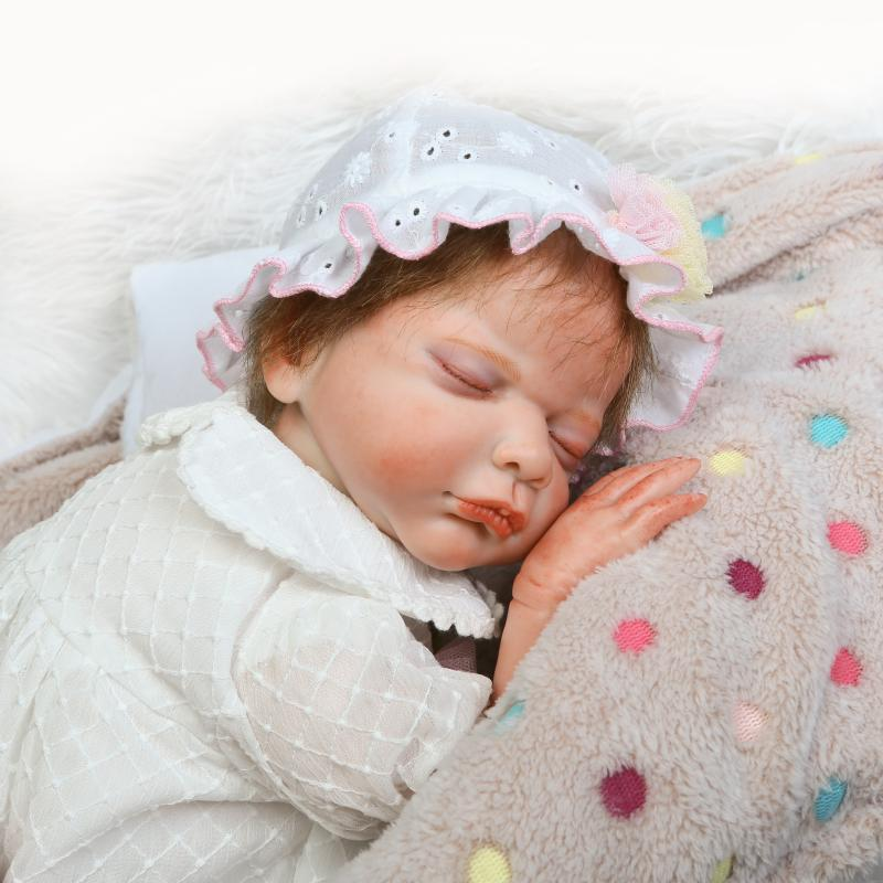 50cm Silicone Reborn Baby Girl Sleeping Doll Toy 20inch Princess Newborn Babies Toddler Doll Child Birthday Gift Girl Brinquedos 50cm soft body silicone reborn baby doll toy lifelike baby reborn sleeping newborn boy doll kids birthday gift girl brinquedos