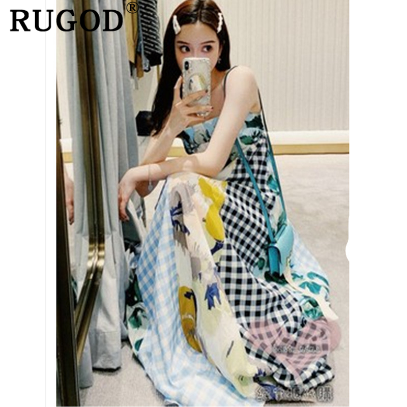 RUGOD Fashion Patchwork beach long dress women Korean chic spaghetti strap backless party dresses vestidos 2019 vintage dresses in Dresses from Women 39 s Clothing