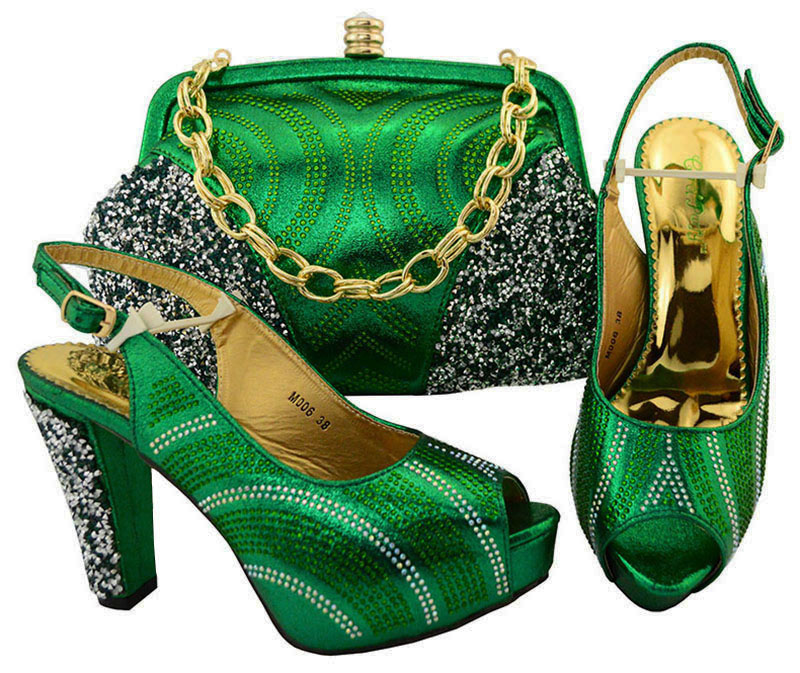 Fashion Italian Shoes With Matching Bag Set High Quality Fashion African Green Shoes And Bag Set For Wedding And Party M006 th16 38 gold free shipping high quality lady italian matching shoes and bag set for wedding and party in wholesale price