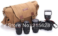 Waterproof Canvas DSLR Camera Bag For Canon EOS 600D 7D 650D 60D 550D 1100D 500D Nikon