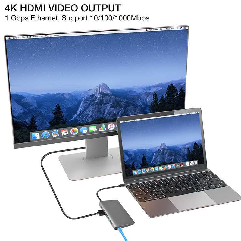 Amkle-concentrador multifunción 9 en 1, USB 3,1, concentrador de USB-C con tipo-c, vídeo 4K, HDMI, Gigabit Ethernet, adaptador USB 3,0, USB C, conector tipo C