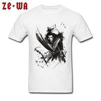 Classic T shirt Men Black White Tops Japanese Samurai Ink Design T Shirts Youth Plus Size Clothes Cotton Tee Shirt Japan Style