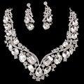 2016 Новая Мода Европейский супер люкс полный кристалл короткие ключицы ожерелье серьги Для Женщин партии Свадебные Ювелирные Наборы