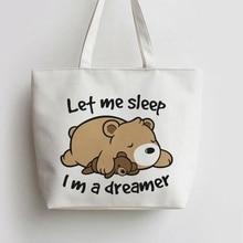 Dreamer Bear Sleeping Bear Canvas Tote bags Cartoon Shopping bag Shopper Grocery Bag GA799