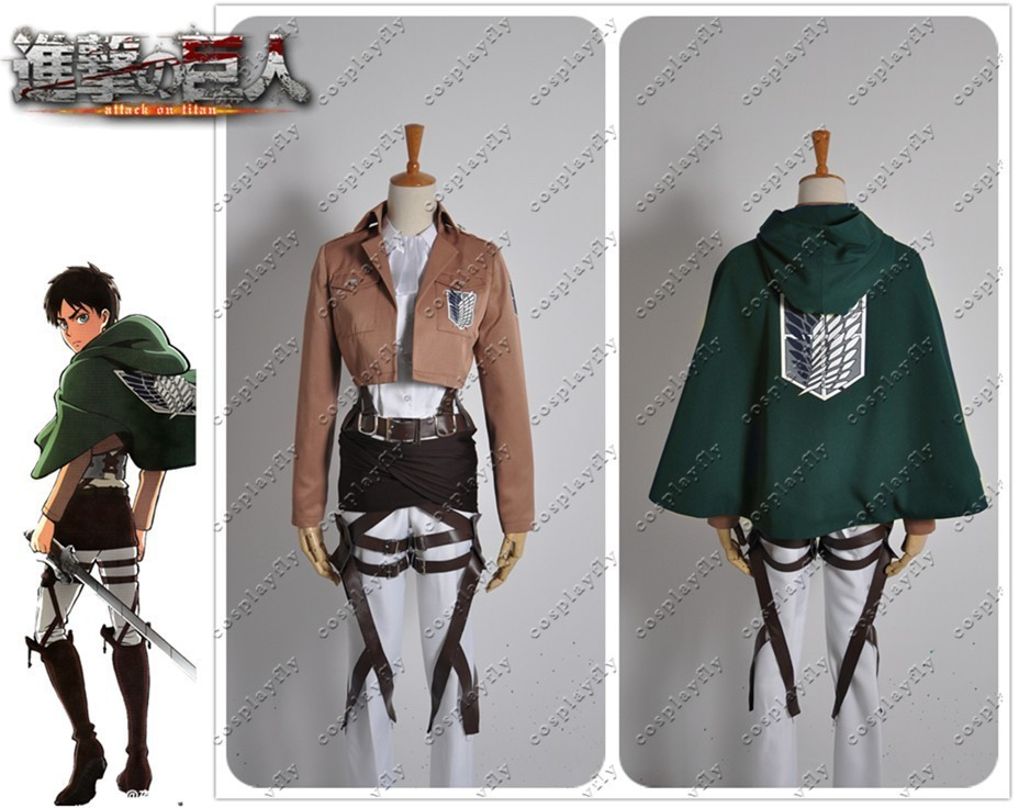 Attack on Titan Shingeki no Kyojin Levi Rivaille Scouting Legion Cosplay Costume With or Without Cloak Two Set Versions(W0239)