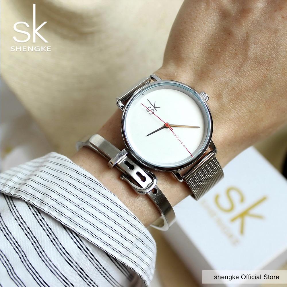 Shengke Women Watch Luxury Top Brand Watch Sapphire Blue Clock Leather Navy Simple Fashion Watch Ladies Relogio Feminino