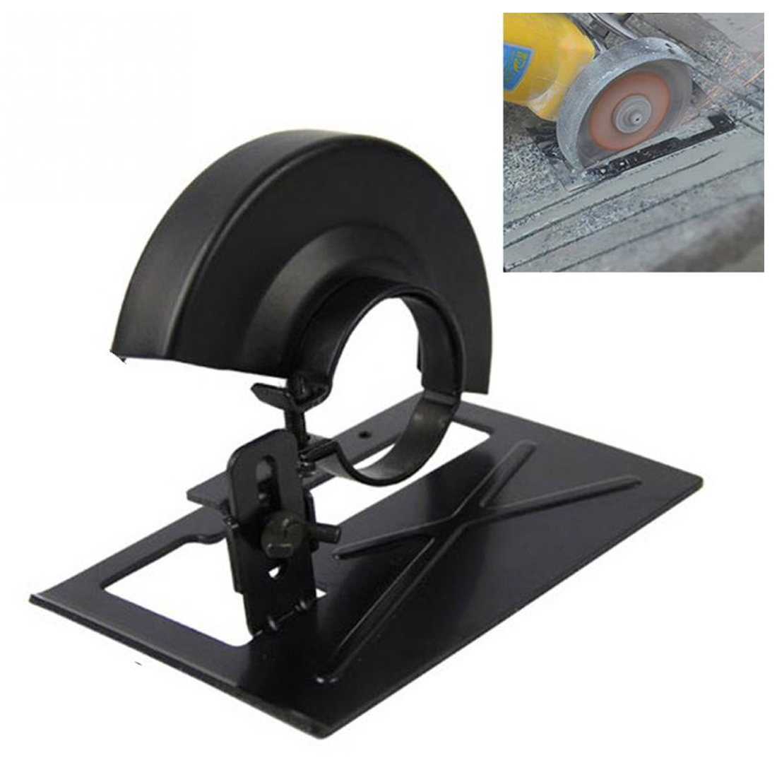 PEGASI 1pc Angle Grinder Dedicated Cutting Seat Stand Machine Bracket Rod Table+1pc Cover Shield Safety Woodworking Tools