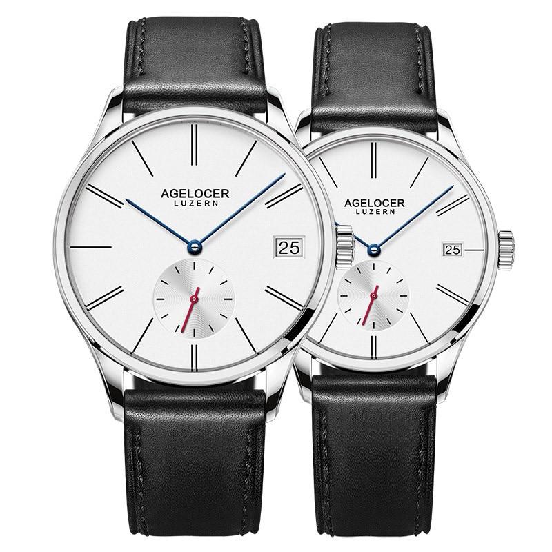 Agelocer оригинальный известный бренд парные часы мужские и женские механические часы с датой и днем водонепроницаемые часы минималистичный Т...
