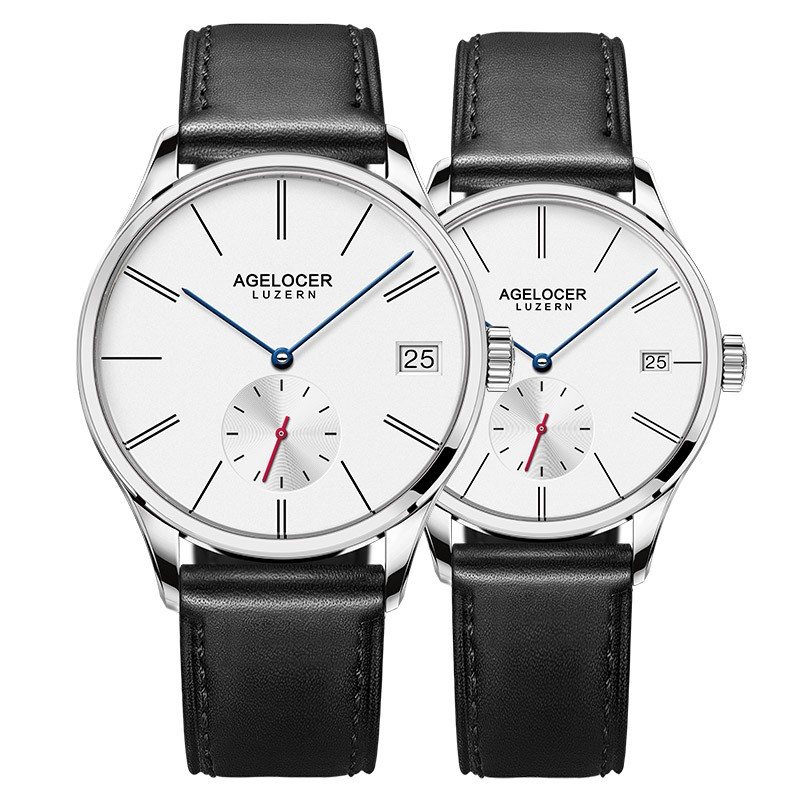 Agelocer Original Famous Brand Couple Watches Men Women Watches Mechanical Movement Date Day Waterproof Watch Minimalist Type