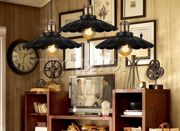 ZYY 1pcs Vintage American Industrial Light LOFT Retro Nostalgia Lamp Cafe bar Restaurant LED Lamps Black Umbrella Pendant Lights - 2