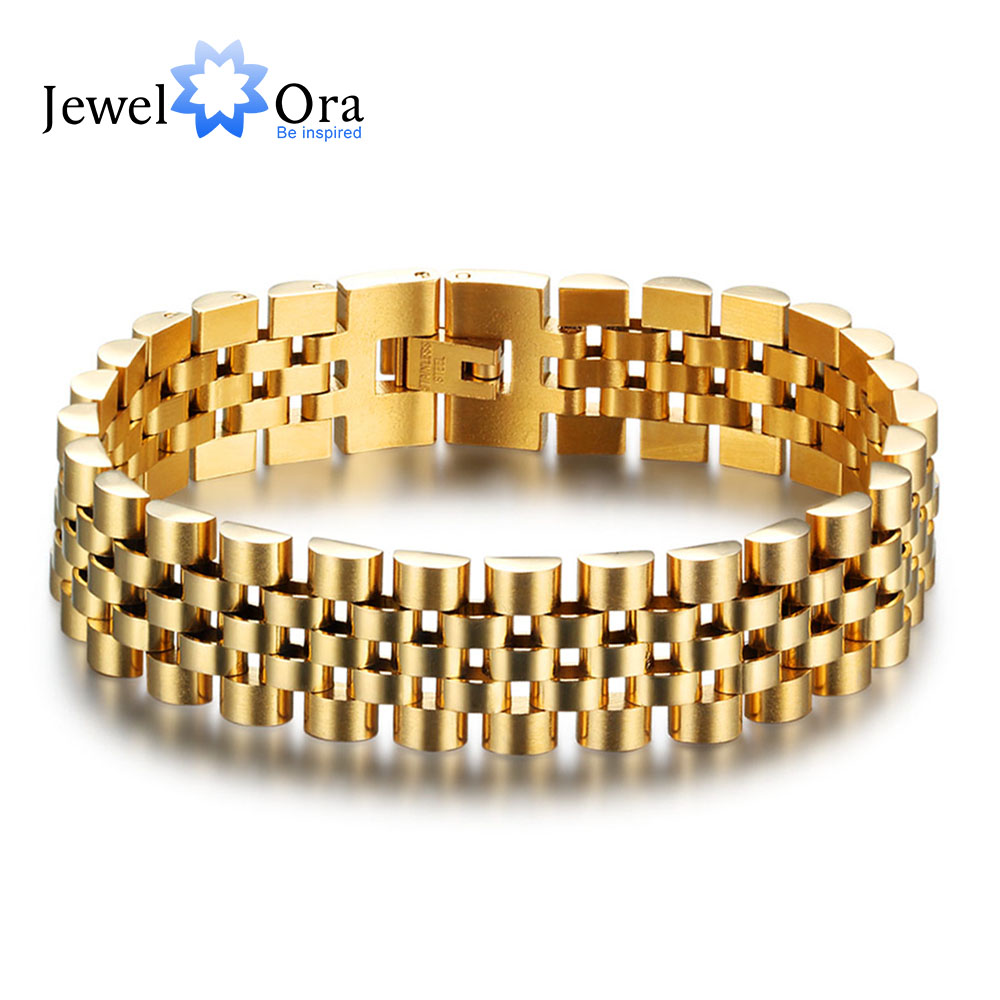 Luxury Gold Color Stainless Steel Bracelet 200mm Wristband Men Jewelry Bracelets Bangles Gift For Him (JewelOra BA101608) u7 stainless steel bracelet men jewelry wholesale gold color mens bracelets fashion watch band strap bracelets bangles h648