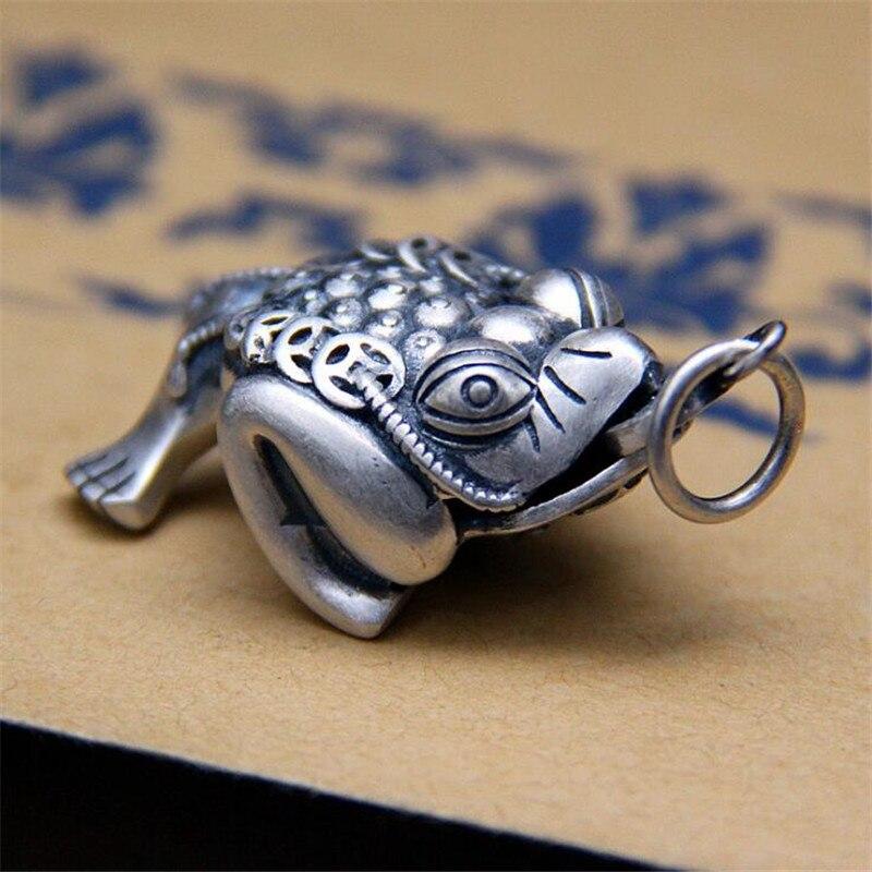 925 pendentif en argent Sterling Toad mode Animal pièce 100% pur S925 solide Thai argent pendentifs pour femmes hommes fabrication de bijoux