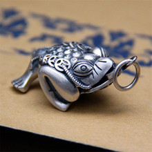 925 Sterling Silver Toad Pendant Fashion Animal Coin 100% Pure S925 Solid Thai Silver Pendants for Women Men Jewelry Making недорого
