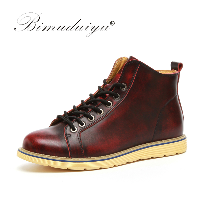 BIMUDUIYU New Fashion Mens Leather Shoes Waterproof Men Boots Quality Autumn Ankle Boots Martin Boot Men British Casual Shoes new british style real top cow leather boots qshoes mens business dress casual fashion men personalized round toe boot y97 663