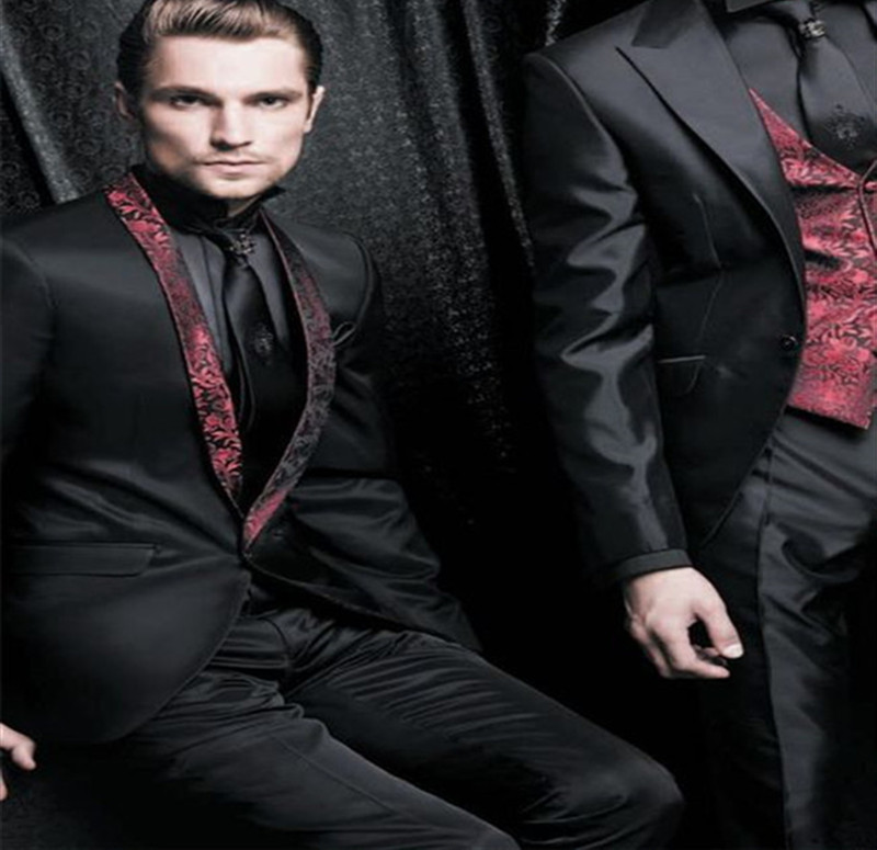 Custom Mens Suits Burgundy Jacquard Slim Fit Black Satin Wedding Suits For Men Tuxedo Blazer Custom 3 Piece Terno Masculino