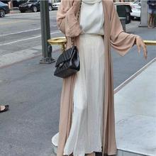 Adult Casual Acetate Robe Musulmane Turkish Abaya New Muslim Dress Cardigan Robes Arab Worship Service W783