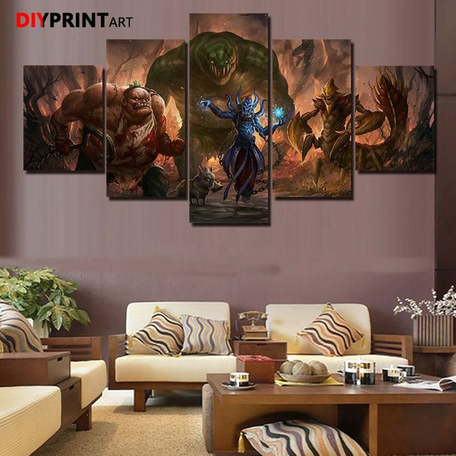 DOTA 2 Leviathan 5 Panels Game Characters Canvas Art Wall Pictures for Living Room A1034 5