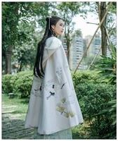 Винтаж для женщин плащ кран вышивка 98 см Длина Длинный осень зима с капюшоном накидка