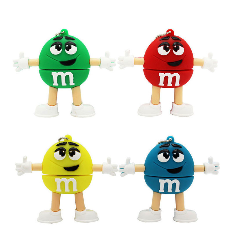 BiNFUL Cute MM Beans Style USB Flash Drive 4GB 8GB 16GB 32GB 64GB Pendrive USB 2.0