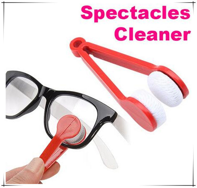 b7cfd21b783 New Portable Handle Clean Glasses Sunglass Lens Cloth Brush Cleaner Wipes  For Glasses Microfiber Eyeglass Cleaning