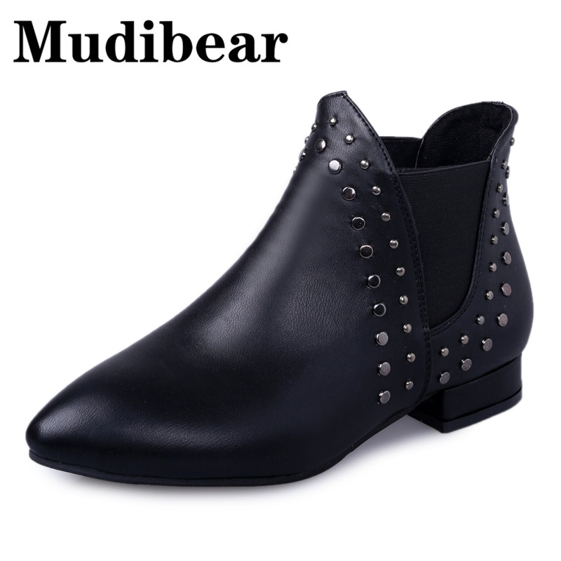 Mudibear Pointed Toe Ankle Boots For Women Motorcycle Low Heel Boots Winter Square Heel Fabric Rivet Slip-On Female Ladies Shoes цена и фото