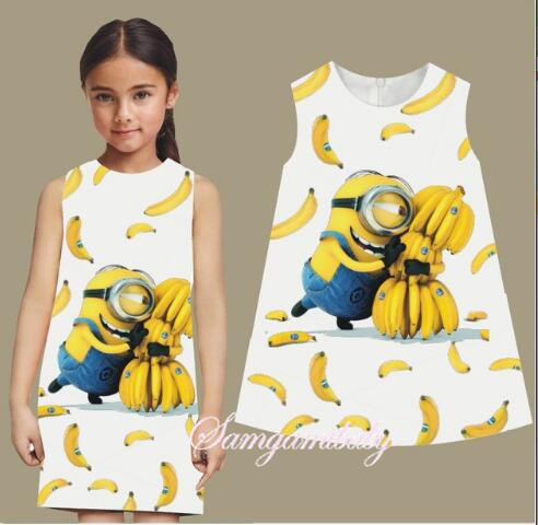 SAMGAMI BABY Heat 2-7 Y Summer Baby Girl Dress Minions Cotton O-neck Children Costume Printed Cute Sleeveless Cartoon Girls женское платье summer dress 2015cute o women dress